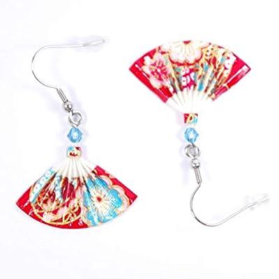 Boucles d'oreilles éventails origami rouges et bleus - crochets inox