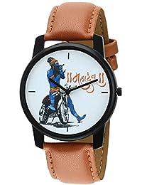 RIDIQA Analog Mahadev Print White Dial Brown Leather Belt Wrist Watch For Man