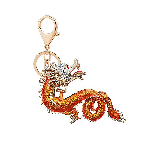 KDSANSO Anhänger Schlüselbund,Dragon Style Chinese Anhänger Geschenk Metalllegierungen Car Bag Telefon Brieftasche Ornamente,Golden,16.5cm+40.3 * 6.5cm
