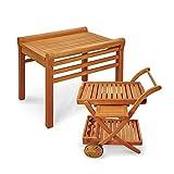 Indoba Premium Gartenset Servierwagen + Beistelltisch Gartentisch Wagen Holz Echtholz hochwertig Garten