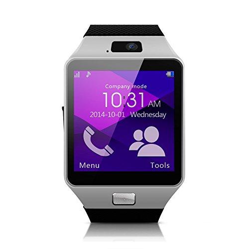 """[Versione Aggiornata] MEMTEQ® 1,56"""" Smart Watch Smartwatch Bluetooth V3.0 Touchscreen Fotocamera 1,3MP Monitoraggio Sonno, Pedometro, Registratore, Sveglia, Fotografia Remota, Sensore Gravità Supporta Scheda SIM / TF, Sync Messaggi Chiamata per Cellulari Smartphone Android Samsung, Huawei, Asus, Alcatel, LG, Sony, Nokia, Motorola Moto, Ecc."""