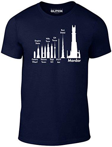 Reality Glitch Herren Mordor Size Guide T-Shirt (Navy Blau , XX-Large)