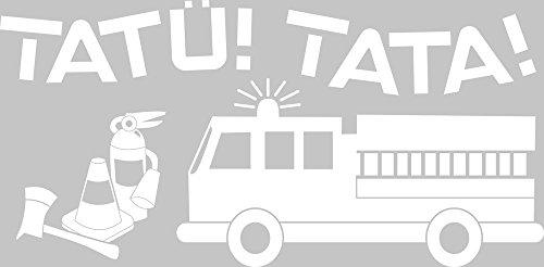 GRAZDesign 730269_50_010 Wandtattoo für Kinderzimmer Schriftzug Tatü! Tata! Feuerwehr   Wand-Deko für Jungen/Jungs (102x50cm//010 weiss)