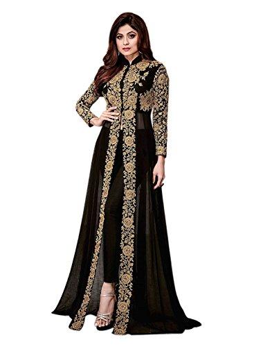 Aryan Fashion Women Faux Georgette Anarkali Semi-Stitched Salwar Suit (AFS_ER110122_Black_Free Size)