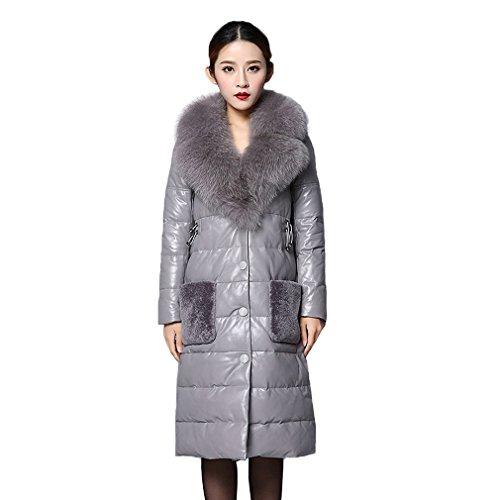 Fur Story 151243 Damen Lange Echte Schafs Leder Unten Mantel mit Fuchs Pelz Kragen Grau Gr.48
