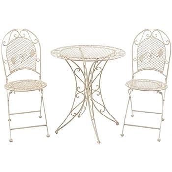 Bistroset Gartenmöbel Eisen 1 Tisch 2 Stühle Gün Antikstil Balkon Sitzgruppe