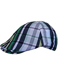 Mens Flat Cap Hat Country Check Striped Print in Navy White Green