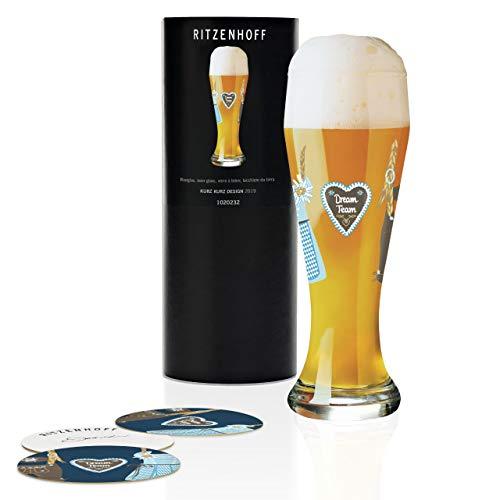 RITZENHOFF Weizen Weizenbierglas von Kurz Kurz Design, aus Kristallglas, 500 ml, mit fünf Bierdeckeln