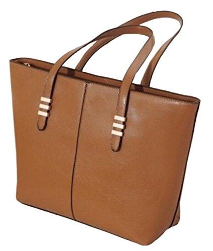 DATO Damen Fashion Große Schultertasche Umhängetasche Tragetasche PU Leder Handtasche Henkeltasche Freizeit Damenhandtaschen Tote Shopperbag Braun
