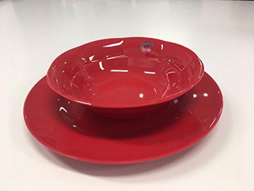 Paire Assiette creuse et assiette en mélamine Rice couleur rouge