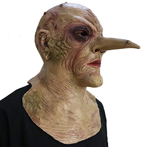 GXDHOME Latex Kopf Maske, Spukhaus Horror Biohazard Lange Nase Zombie Scary Blutige Totes Gesicht Ghost Creepy Halloween Kostüm
