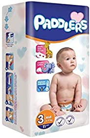 Paddlers Midi 3 Beden 11 Adet (4-9 Kg) Deneme Paketi Bebek Bezi, Beyaz