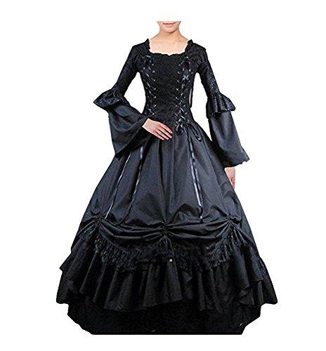 Tiny Time Damen Viktorianisch Platz Halsband Gotisch Dress Kleid Abschlussball (Kleider Gotische Kostüme Viktorianische)