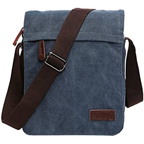 Super moderno tela Messenger Bag borsa a tracolla Laptop Bag computer bag satchel bag Bookbag scuola borsa lavoro borsa crossbody borsa per uomini e donne, Uomo, Blue Small