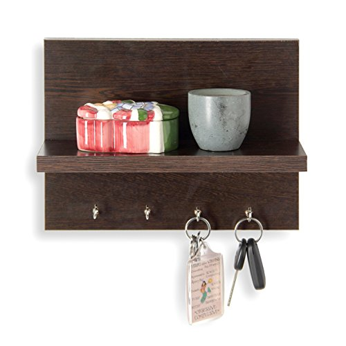 Forzza Mia Wall Shelf with Key Holder (Matte Finish, Wenge)
