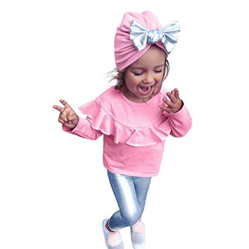 Designs Kinder Sweatshirt (Baby Bekleidungssets CLOOM Neugeborene Baby Mädchen langarmshirt Sweatshirt Kleidung Set Tops + Hosen + cute Bowknot Hut Kleinkind 3 stücke Outfits (110, Rosa))