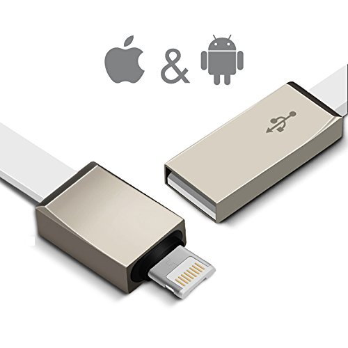 Neuheit 2016 Flaches 1 m Roll-up Schnell-Ladekabel Duo 2 in 1 Lightning & Micro-USB Android Universal Datenkabel Apple iPhone (auch 7) iPad iPod Android-Handy High speed Datentransfer & Geräte-Sync