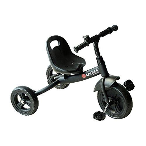 HOMCOM Tricycle pour Enfant avec Roue de Sécurité Garde-Boue Sonnette 74 x 49 x 55cm Fer Noir