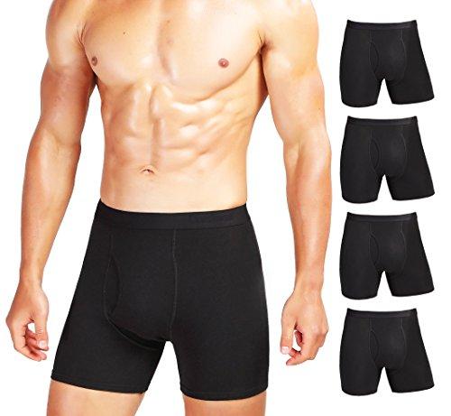 Comfneat Men's Comfy Boxer Brief 5-Pack Tagless Underwear Soft Stretchy Cotton Spandex (Black Pack-5, M)