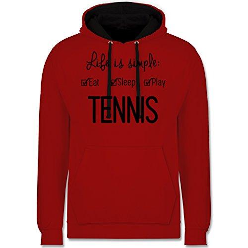 Tennis - Life is simple Tennis - Kontrast Hoodie Rot/Schwarz