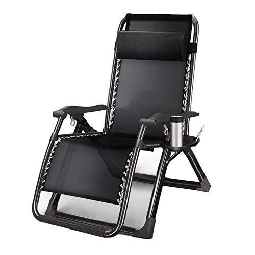HYDT Liegende Lounge Faltbarer tragbarer Schwerelosigkeits-Patio-Lounge-Stuhl für Hochleistungsleute, Campingstühle, die Deckchairs fischen, Kapazität: 440kg (Farbe : B, größe : 72cm seat Surface)