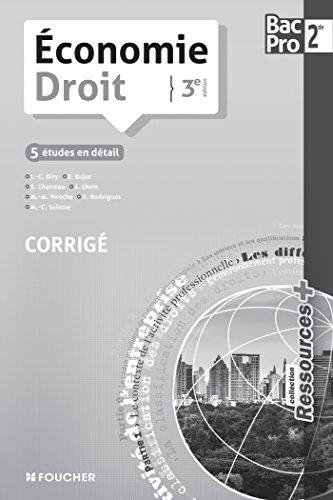 Ressources + Economie - Droit Sde Bac Pro 3e édition Corrigé