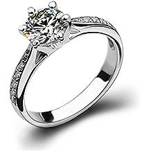 Ijewellery Anillo de bodas anillo de plata esterlina anillos de diamante polaco Promesa de compromiso para la Mujer