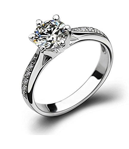 Promesa Anillo compromiso de la boda de la plata esterlina del anillo de diamante de la CZ regalos del aniversario para su tamaño 14