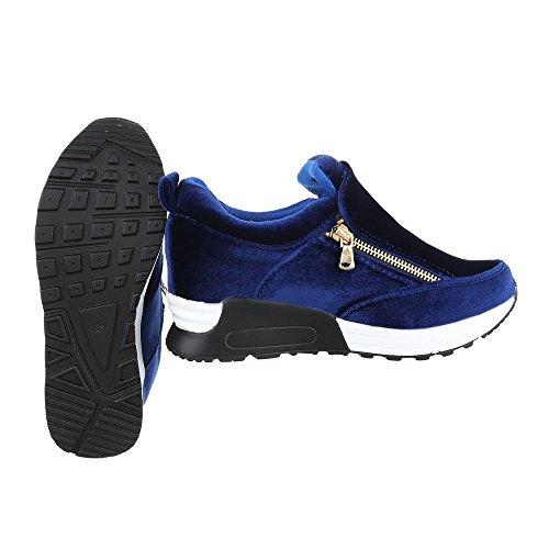 High-Top Sneaker Damenschuhe High-Top Moderne Reißverschluss Ital-Design Freizeitschuhe Blau