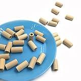 Coskiss 200pcs dente di legno naturale colla 20mm * 10mm perlina di legno cilindro/geometria tubo non trattato perline artigianato giocattoli fai da te