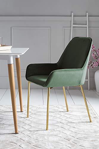 SalesFever Esszimmer-Stuhl Linnea in Grün | Polsterstuhl in Samt-Optik mit Armlehnen | Gestell Messing-Farben | Sitz- und Rückenpolsterung - Stuhl Designer Stoff