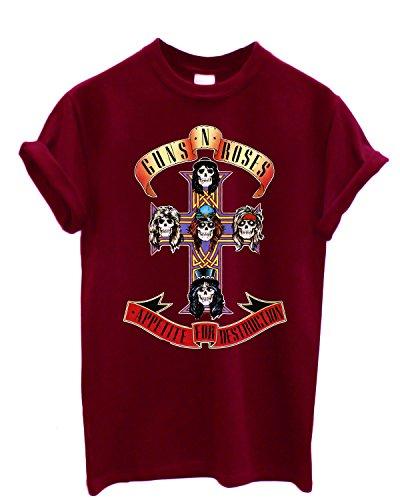 Camiseta Hombre Guns n' Roses - Appetite for Distruction Camiseta 100% algodòn LaMAGLIERIA,XL, Bordeaux
