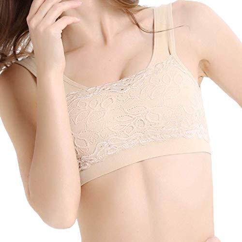 Missoul Sport Style Ladies''Plain Color Front Cross Side Lace Sports Bra Full Cup Bra Vest Tops Blouse (C-beige) -