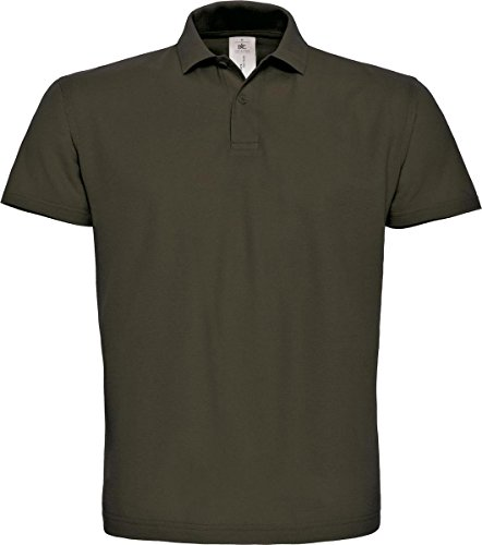 B & C ID. 001 Short Sleeve Polo Shirt Herren Casual Wear 2 Button Baumwolle Tee Top Braun - Braun