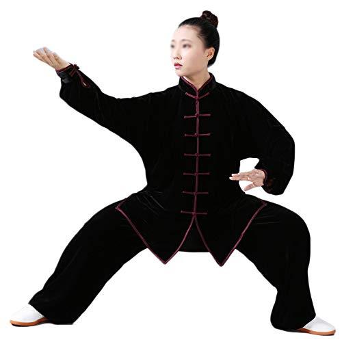 Tai Chi Uniform Anzug Traditionelle Kampfkunst Taiji Kung Fu Qigong Wushu Wing Chun Shaolin Training Klassische Kleidung Lange Ärmel Unisex Schwarz Rot M