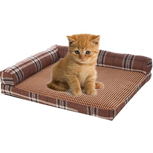 PDDJ Hundebett, L-förmige Lounge-Bett mit atmungsaktiver, kühler Matte für Hunde und Katzen,Brown -