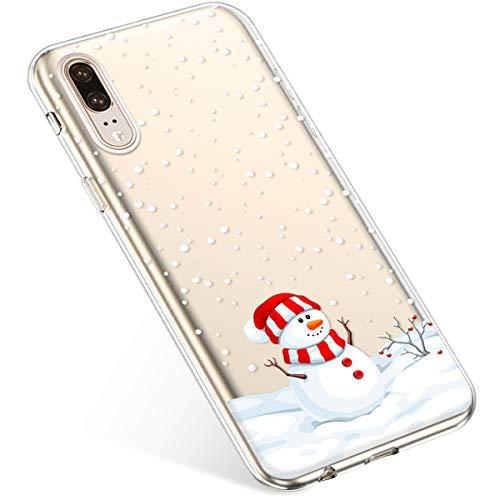 Kompatibel mit Handyhülle Huawei P20 Schutzhülle Silikon Transparent Durchsichtig Handyhülle Schutzhülle TPU Dünn Handytasche Etui Case Cover,Dekorativer Schneemann