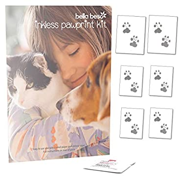 Bella Beso Inkless Pet Paw Print Set for Cats and Dogs – comes with 6 sheets of special paper
