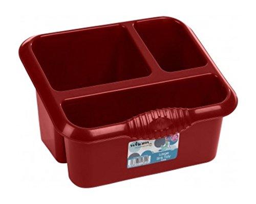 Wham High Grade Caddy Sink Tidy Cutlery Drainer Holder, Red, 10 x 10 x 10 cm