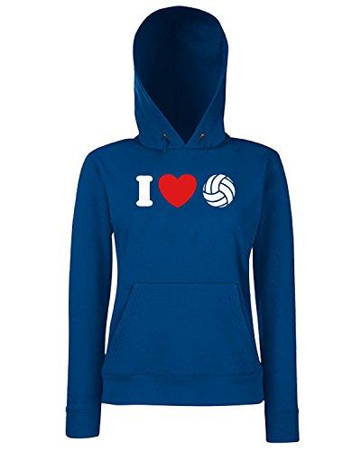 T-Shirtshock - Sweats a capuche Femme TLOVE0088 i love volleyball tshirt Bleu Navy