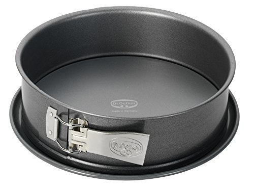 Dr. Oetker Springform Ø 26 cm, auslaufsichere Kuchenform, runde Backform aus Stahl mit keramisch verstärkter Antihaft-Beschichtung (Farbe: grau), Menge: 1 Stück