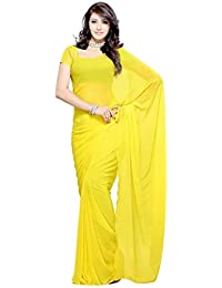 Fantasy Trendz Women's Chiffon Saree With Blouse Piece (Plain Yelow_Yellow)