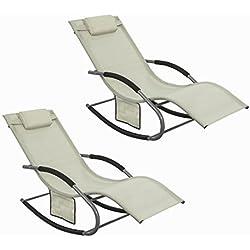 SoBuy® OGS28-MI x2 Lot de 2 Fauteuils à Bascule Transats de Jardin avec Repose-Pieds, Bains de Soleil Rocking Chair - Crème