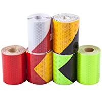 CozofLuv 6 Rolls 5 cm x 3 m Reflective Tape Adhesive Tape Self Adhesive Safety Warning Tape Conspicuity Night Reflector Strips Tape Film Sticker for Safety Warning 5 cm x 3 m, multicolour