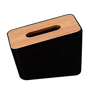 Homyl Holz Papierhalter Badezimmer Toilettenpapier Halterung für Restaurant, Büro, Haushalt - Schwarz