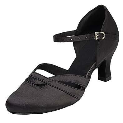 Minitoo Absatz Damen, Satin-Latein Tanzschuhe, Schwarz - schwarz - Größe: 34