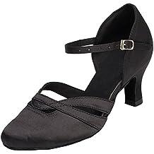 Zapatos de tacón bajo para mujer Minitoo TH152, de satén, cómodos, para bailes de salón