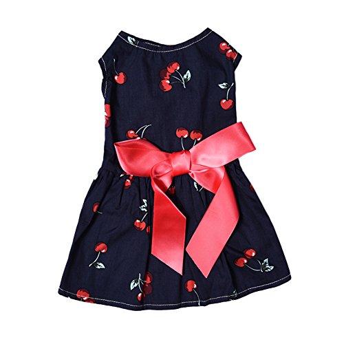 WIDEN Vestido de una sola pieza del vestido de la princesa del animal doméstico de la cereza de los patrones de la cereza