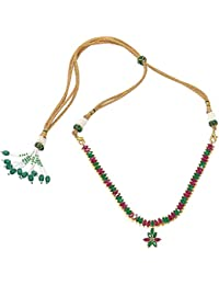 Florishkart Gold Plated Emearld Ruby Stone Necklace Set Deal Of The Day Jewellery