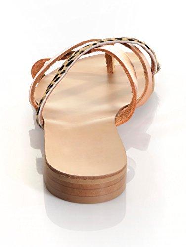 Damen Infradito mit modischer Riemchenlösung by Alba Moda cognac-metallic
